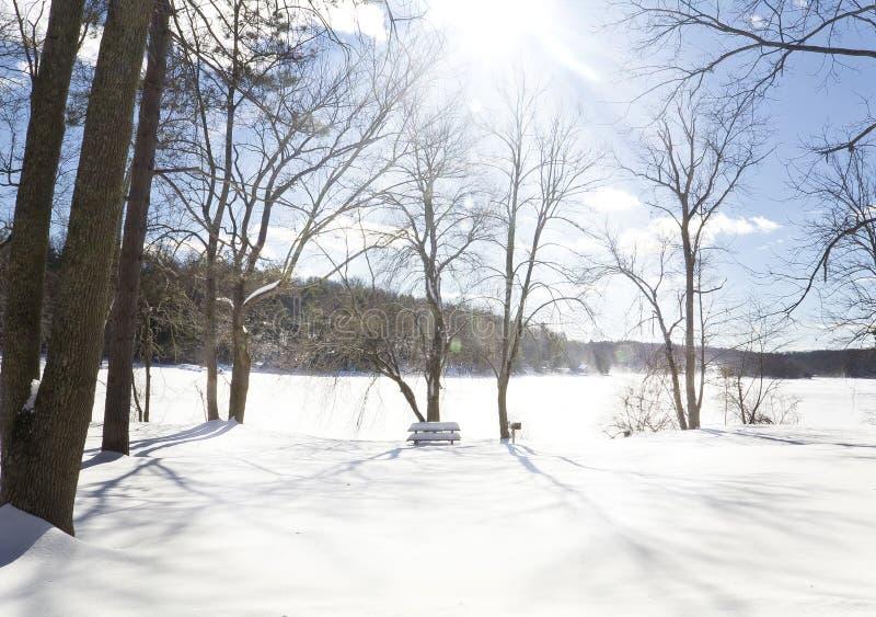 冬天结冰的湖 库存图片