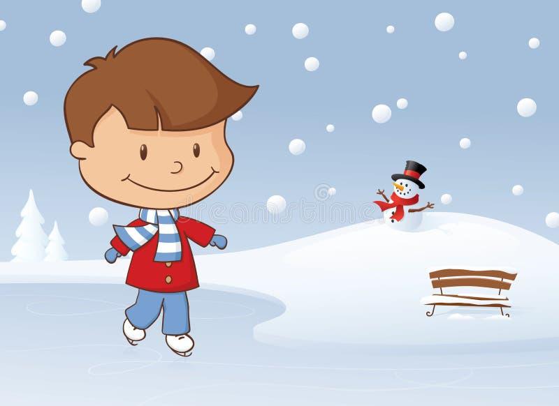 冬天滑冰的男孩 皇族释放例证