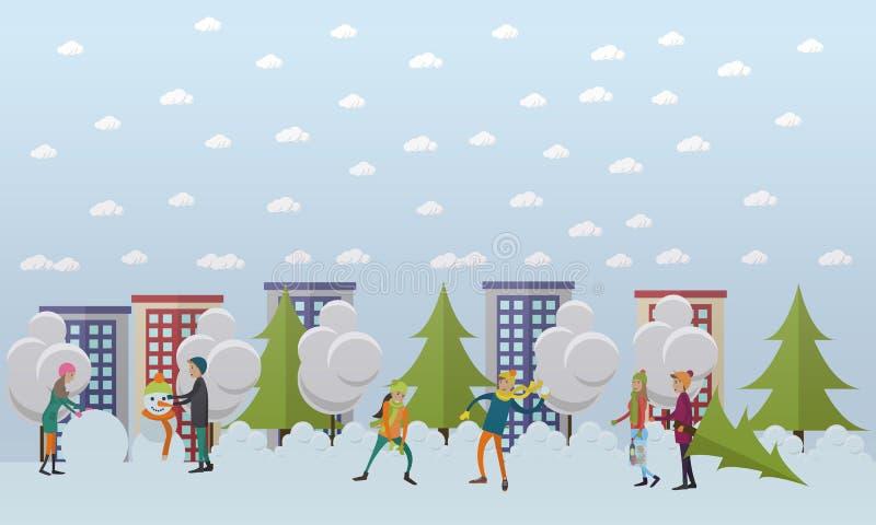 冬天活动,圣诞节时间概念在平的样式的传染媒介例证 皇族释放例证