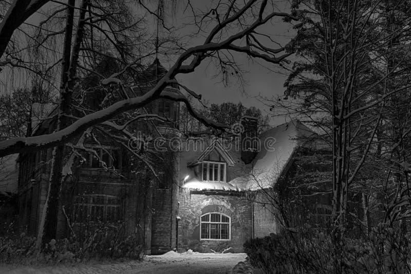 冬天 晚上 之家在森林里 库存照片