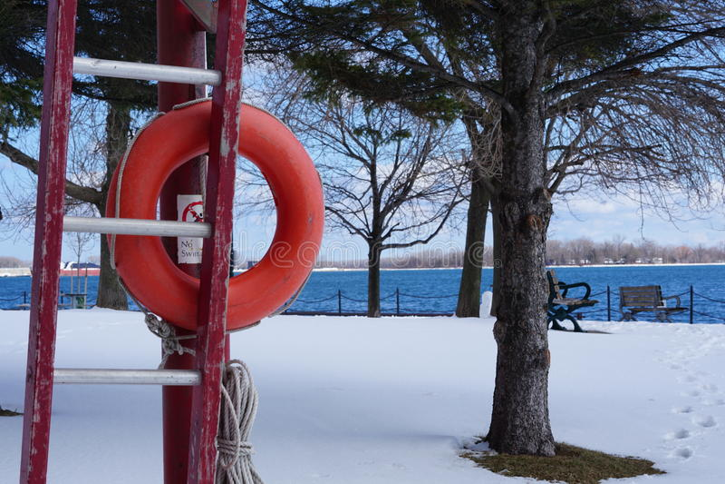 冬天-由湖 免版税库存照片