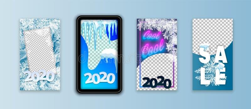 2020冬天Instagram故事创造性的现代相框包装 社会媒介介绍的设计模板,烙记 库存例证