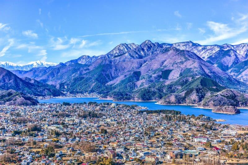 冬天Kawaguchigo湖吉田市市山梨日本 库存照片