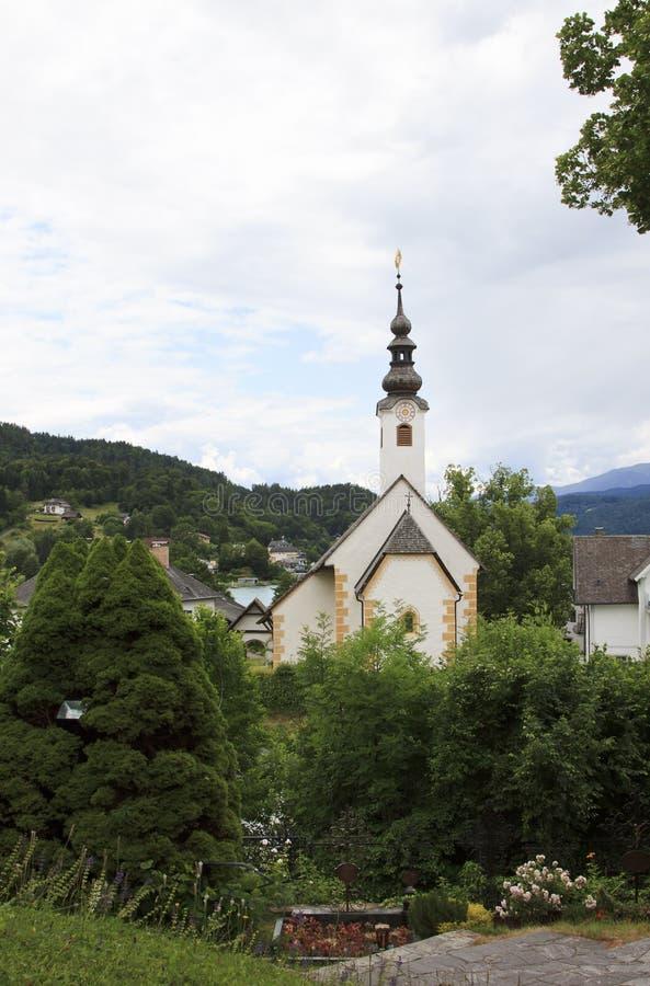 冬天Kirche教堂,玛丽亚Wörth,奥地利 库存照片