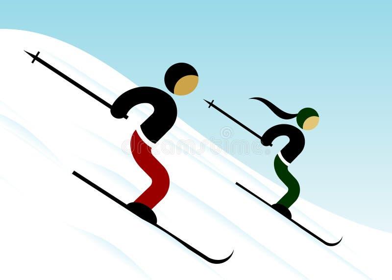 冬季体育,滑雪者 库存例证