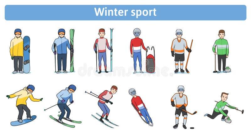 冬季体育 户外冬天活动 站立和在行动的运动员 下坡和速度滑雪 向量例证