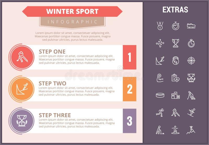 冬季体育infographic模板,元素,象 库存例证