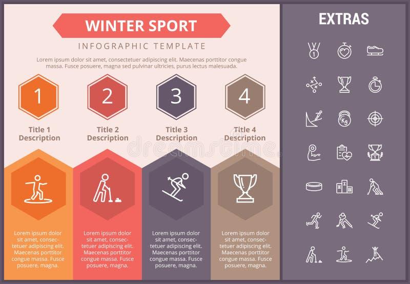 冬季体育infographic模板,元素,象 皇族释放例证