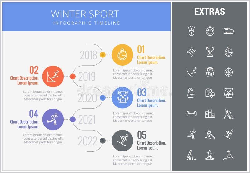 冬季体育infographic模板,元素,象 向量例证