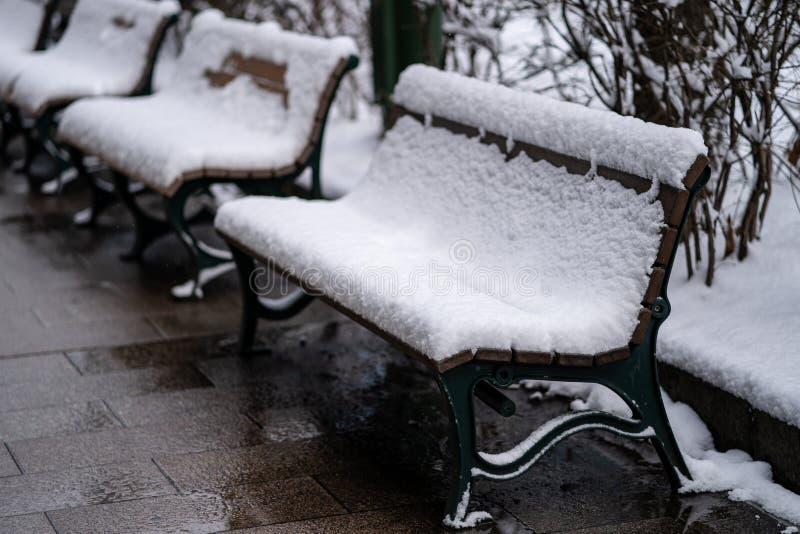 冬季公园的冰雪覆盖椅 图库摄影