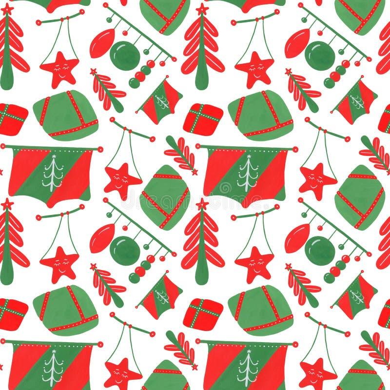 冬季的无缝图案,有绿色和红色元素、圣诞树、球、花环、旗帜,以时髦的可爱风格在上 向量例证