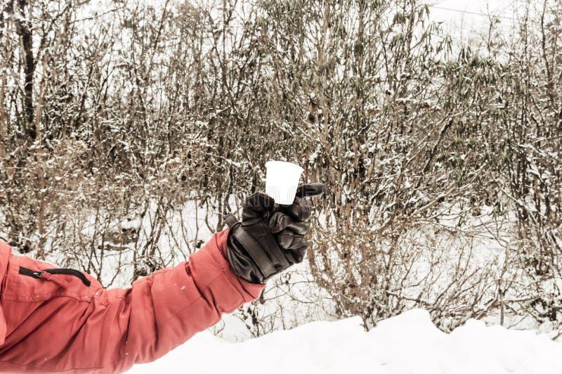 冬季衣服的妇女游人拿着茶和显示一个热的咖啡杯 积雪的森林和山在背景 免版税图库摄影