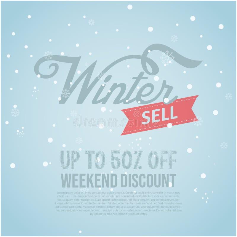 冬季销售横幅特殊孤立矢量图像 雪花图案背景中的冬季销售文本用于购物促销 库存例证