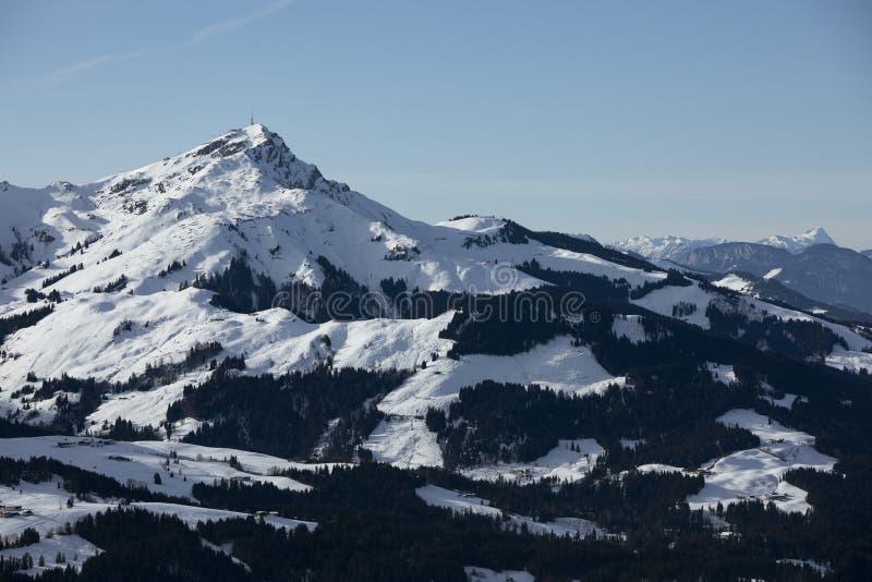 冬季,怀尔德·凯撒在奥地利蒂罗尔州菲伯布伦的山峰 库存照片