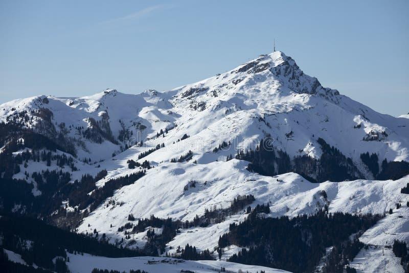冬季,怀尔德·凯撒在奥地利蒂罗尔州菲伯布伦的山峰 图库摄影
