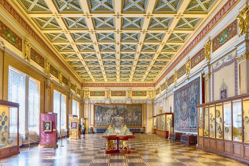 冬宫的内部,埃尔米塔日博物馆,圣彼德堡, 图库摄影