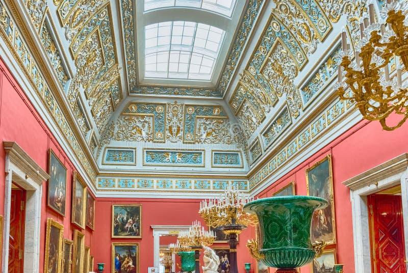 冬宫的内部,埃尔米塔日博物馆,圣彼德堡, 免版税库存照片