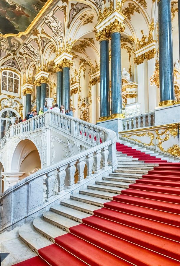 冬宫的约旦楼梯,埃尔米塔日博物馆,圣宠物 图库摄影