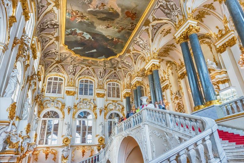 冬宫的约旦楼梯,埃尔米塔日博物馆,圣宠物 库存照片