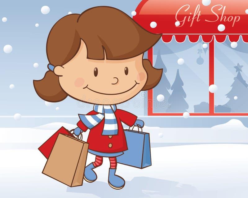 冬日女售货员 库存例证