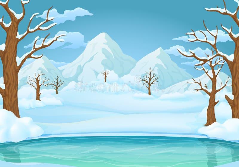 冬日背景 冻湖或河有积雪的树和多雪的山的 皇族释放例证