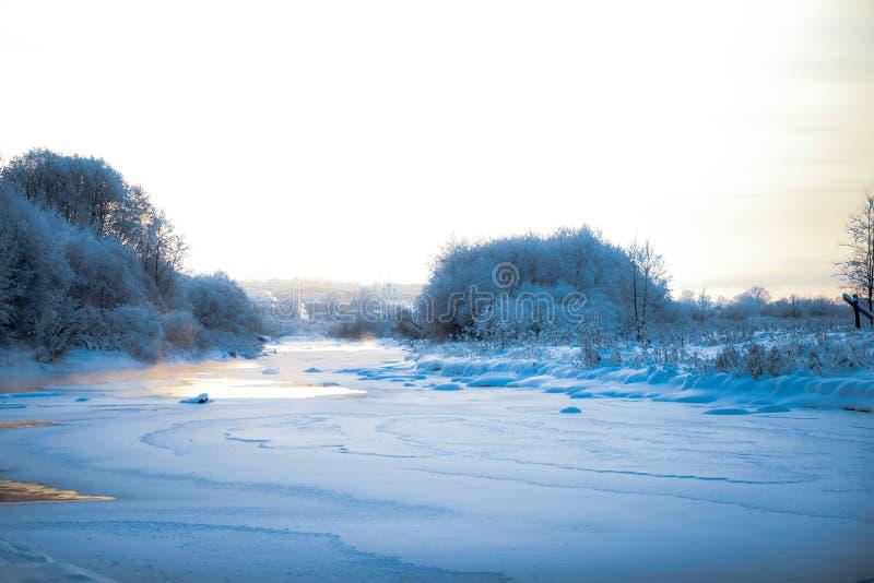 冬时的安静的河 免版税库存照片