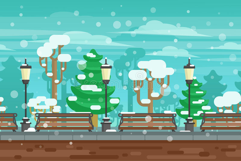冬景花园风景海报 皇族释放例证