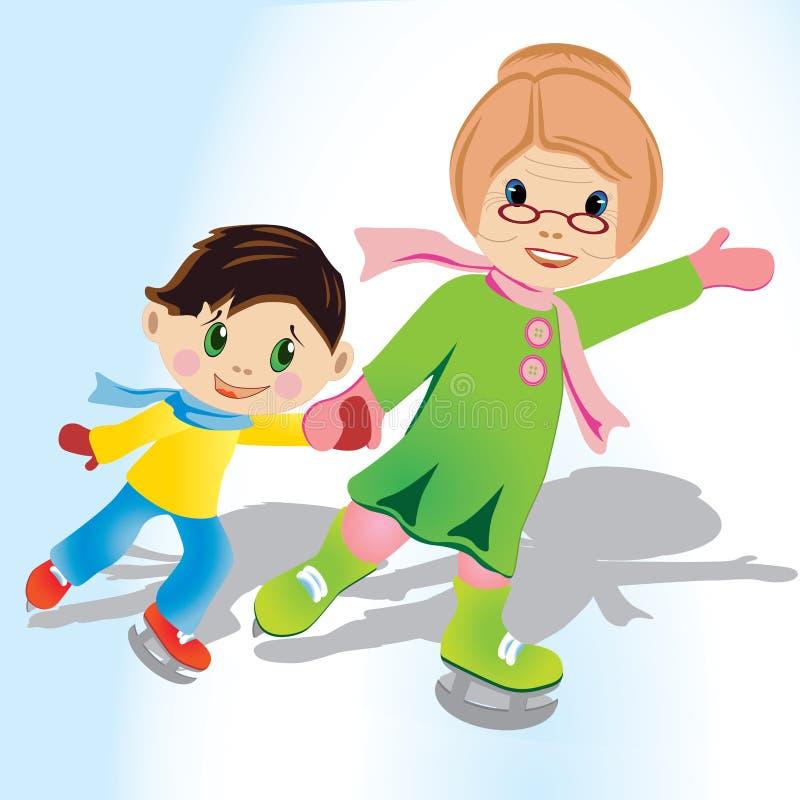 滑冰与侄子的祖母 库存图片