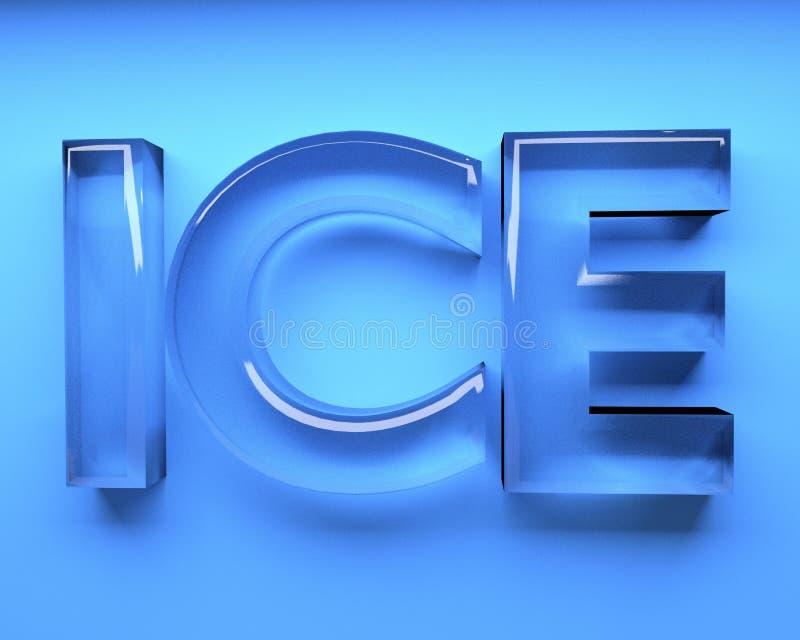 冰与蓝色玻璃设计的字母表词在3D回报图象 向量例证