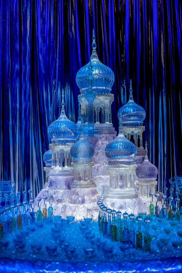 冰从Yule球的城堡集合在哈利・波特与火焰杯显示了在华纳兄弟演播室电影游览 库存图片