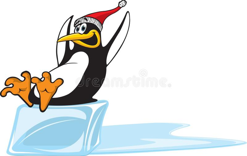 冰企鹅下滑 皇族释放例证