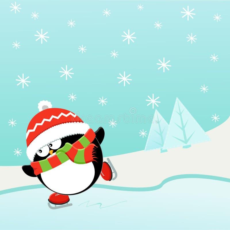 冰企鹅滑冰 向量例证
