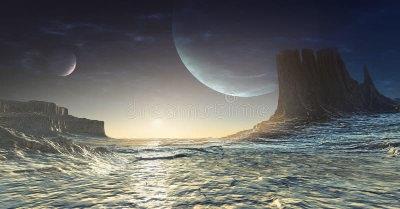 冰冷的外籍人行星 皇族释放例证