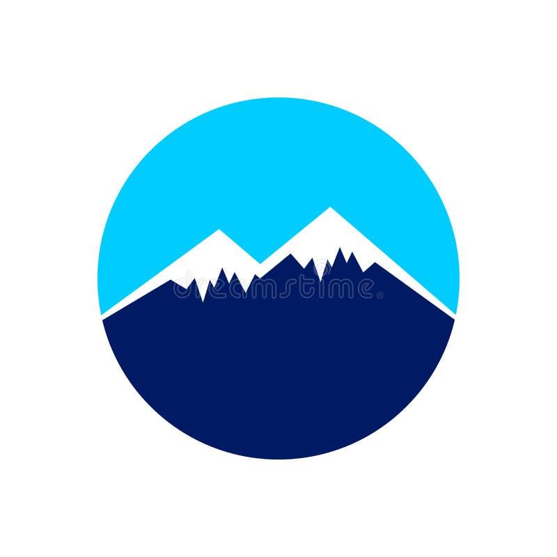 冰冷的山上面圈子标志设计 皇族释放例证