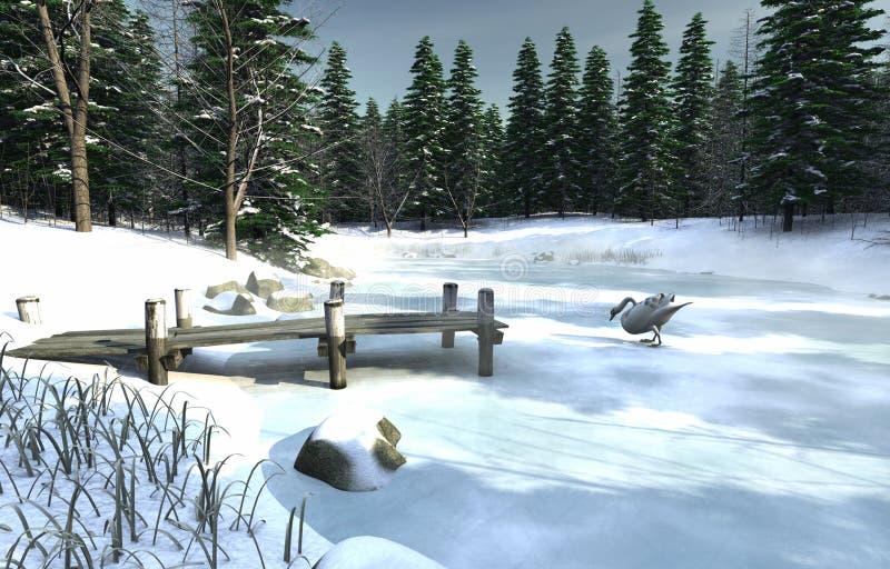 冰冷的湖天鹅 向量例证