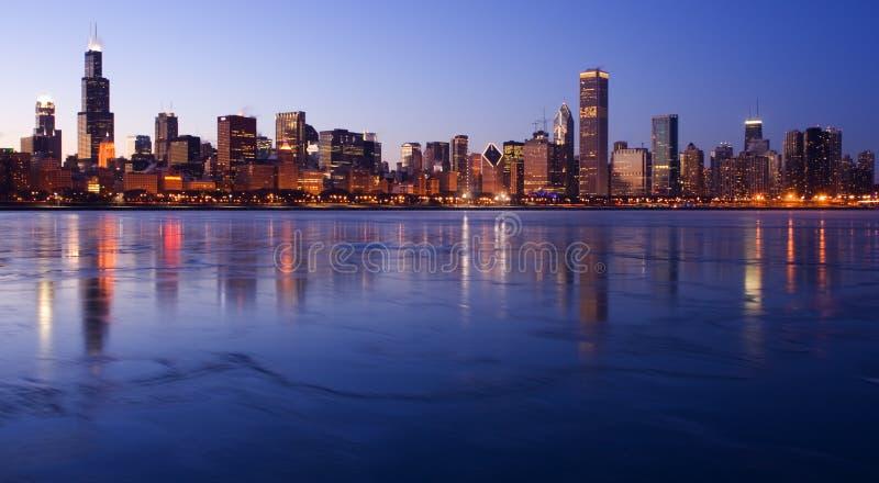 冰冷街市的芝加哥 库存图片