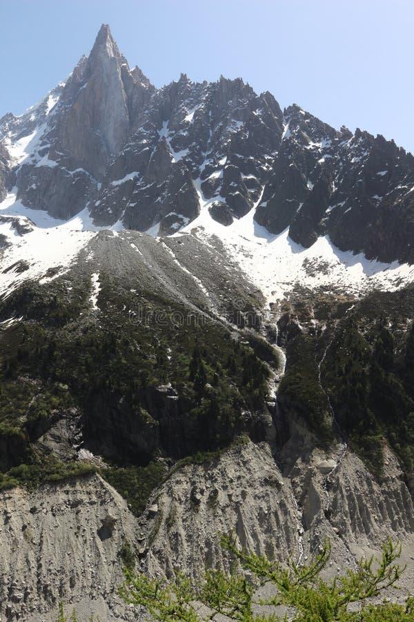 冰和积雪的勃朗峰断层块在法国 库存照片