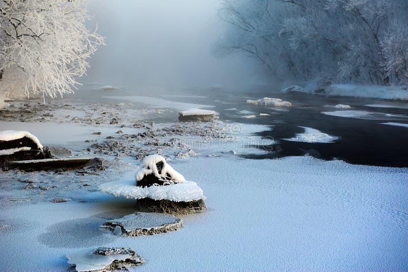 冰和水在河 库存照片