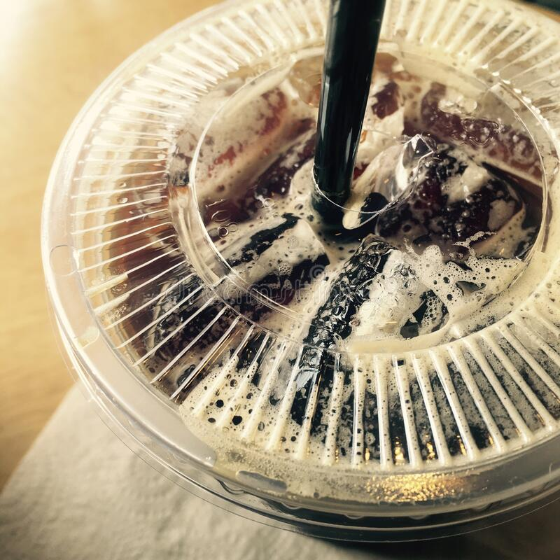 冰咖啡或冰美国咖啡 免版税库存图片