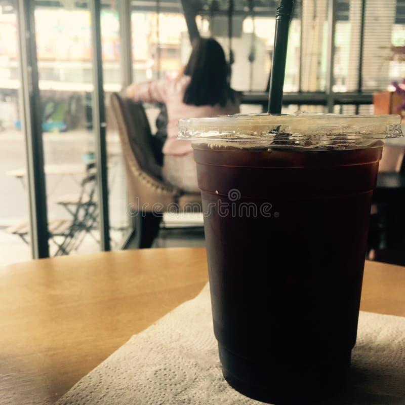 冰咖啡或冰美国咖啡 库存图片