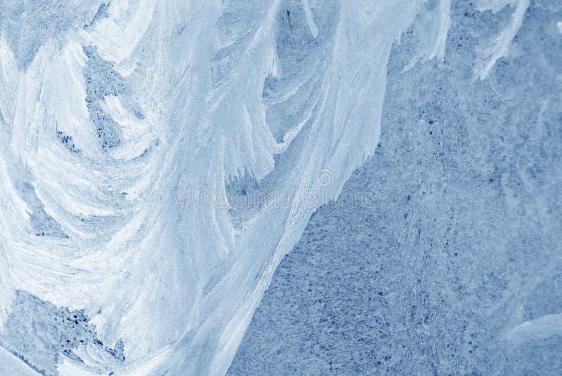 冰在玻璃窗,自然本底纹理 免版税库存照片
