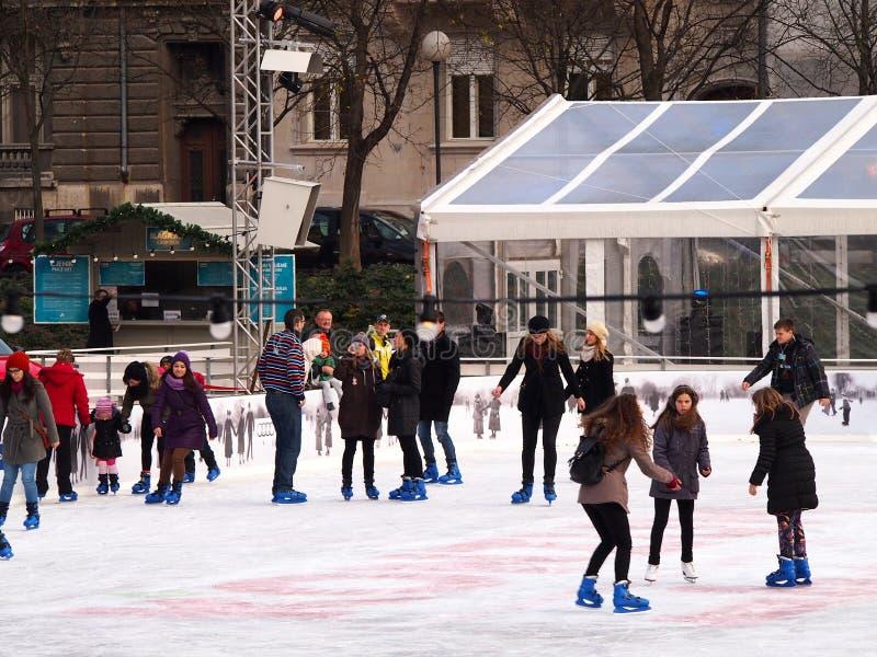 滑冰场在萨格勒布 免版税库存照片