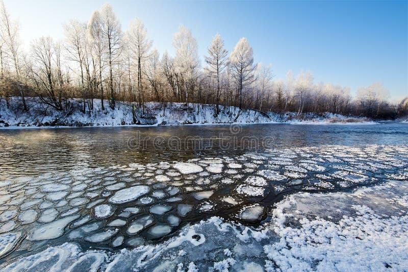 冰块在河 免版税库存图片