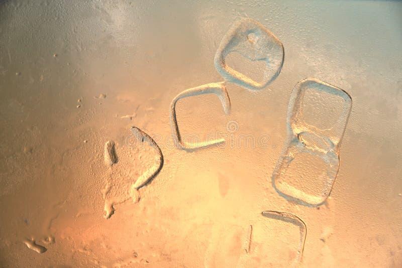 冰块等高和水下落在冻玻璃与橙色色彩/珊瑚光 冷却的抽象概念在热的夏天 免版税库存图片
