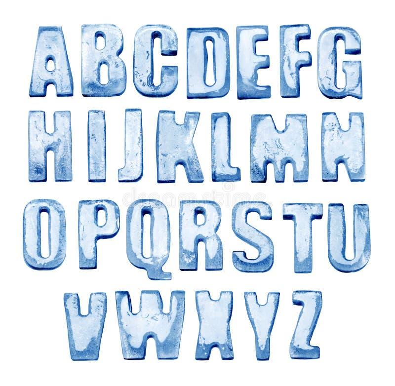 冰字母表 查出在白色 冻结的信件真正的照片  库存照片