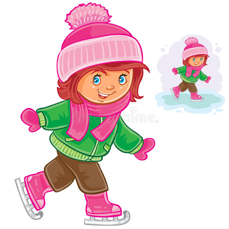 滑冰小的女孩 皇族释放例证