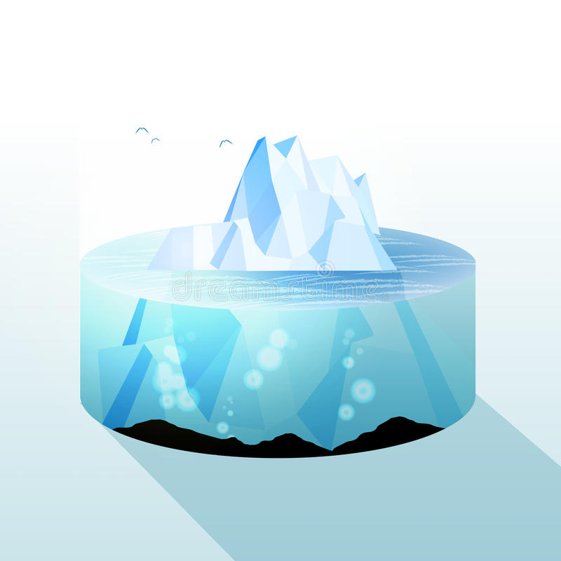 冰山切片水下和水面上的平实视图-传染媒介不适 向量例证