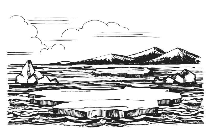 冰山剪影手拉的动画片 库存例证