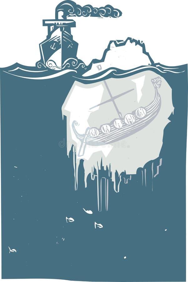 冰山北欧海盗 向量例证