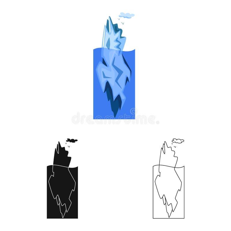 冰山和冰标志传染媒介设计  冰山和海股票的传染媒介象的汇集 向量例证